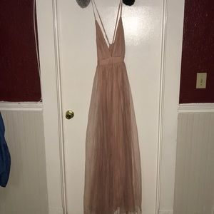 Plunging Mesh Prom Gown - Blush